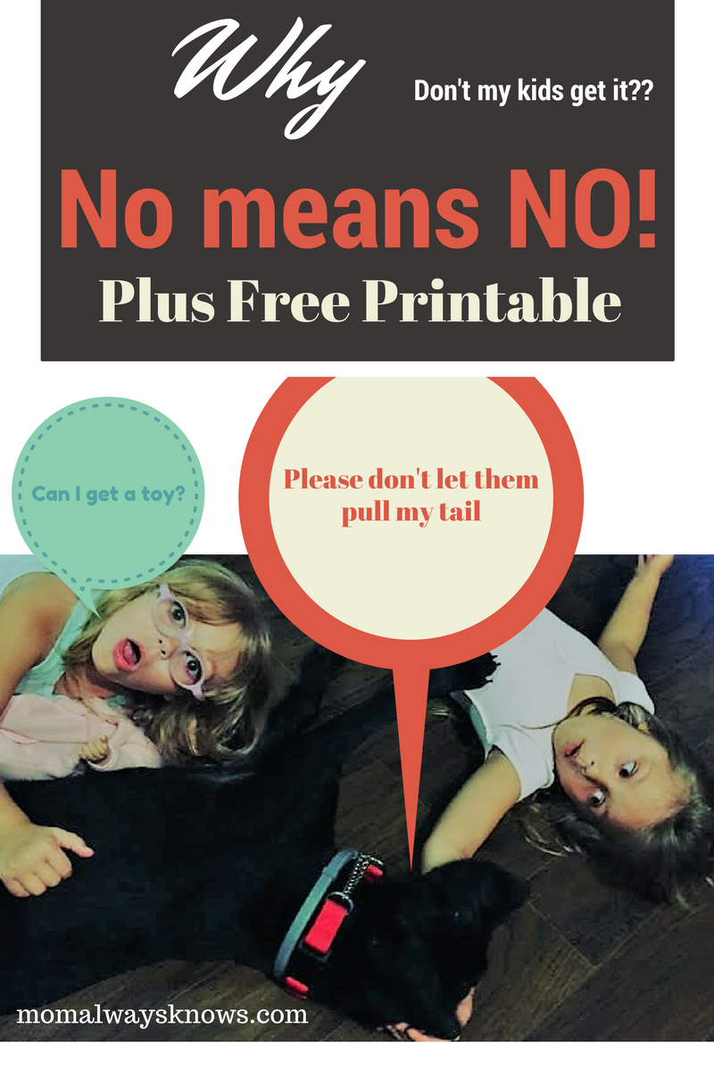 Why don't my kids get it?  No, really means NO with free printable!