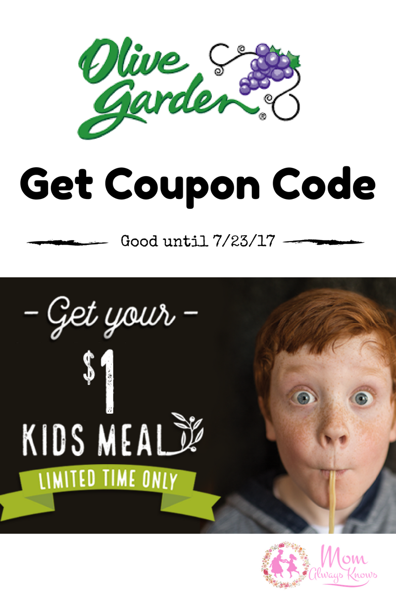 $1 Kids Meal to Olive Garden with purchase of adult Meal Coupon Code