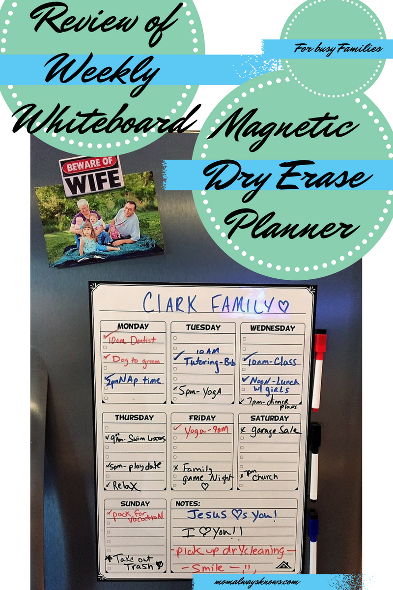 Review of Weekly Whiteboard Magnetic Dry Erase Board Planner for Busy Families