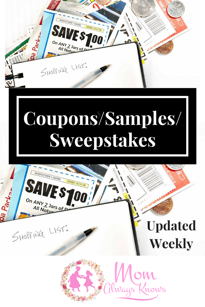 Hot daily deals from our partners!!  Coupons- Samples-Sweeps
