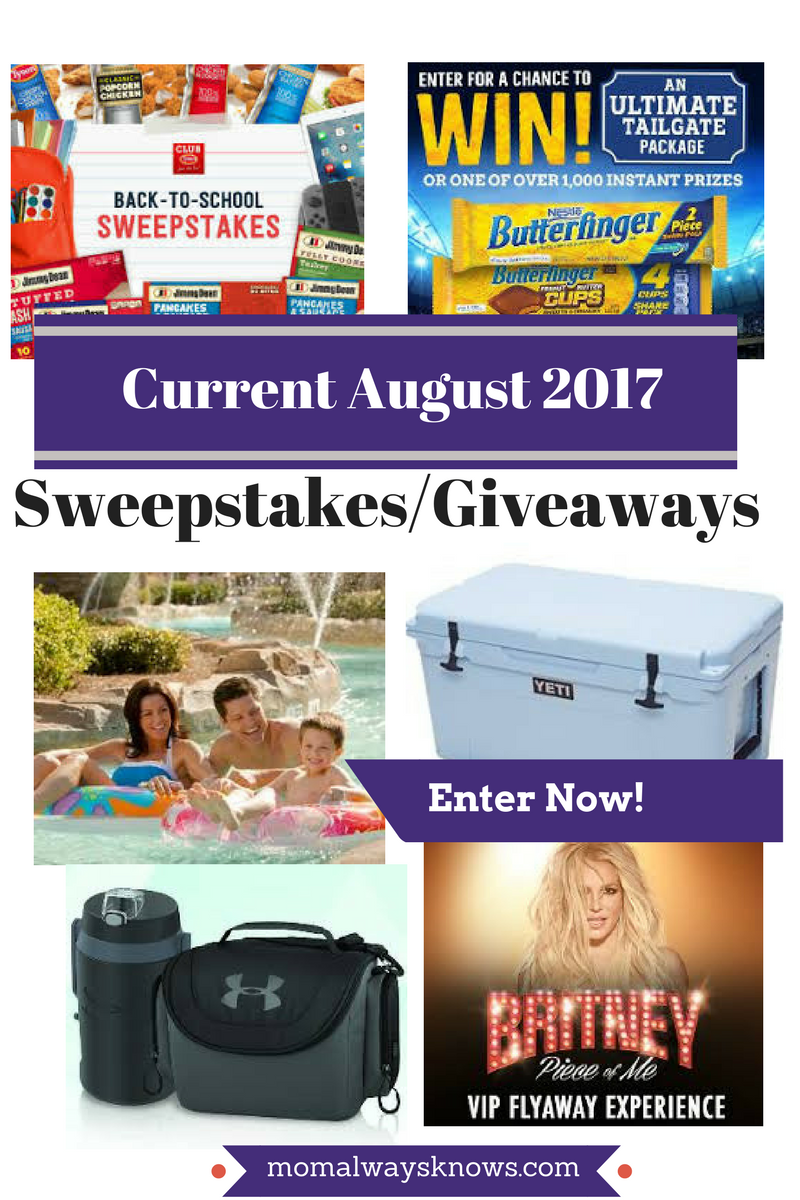 Current August 2017 Sweepstakes/Giveaways