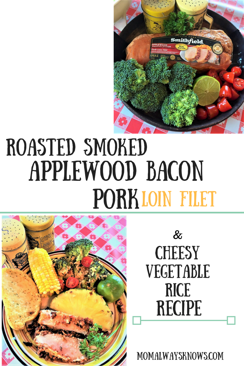 Roasted Applewood Smoked Bacon Pork Loin Filet & Cheesy Vegetable Rice Recipe
