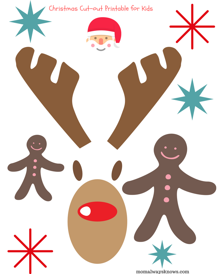 Christmas Cut Out For Kids Reindeer on santa claus printable cutouts