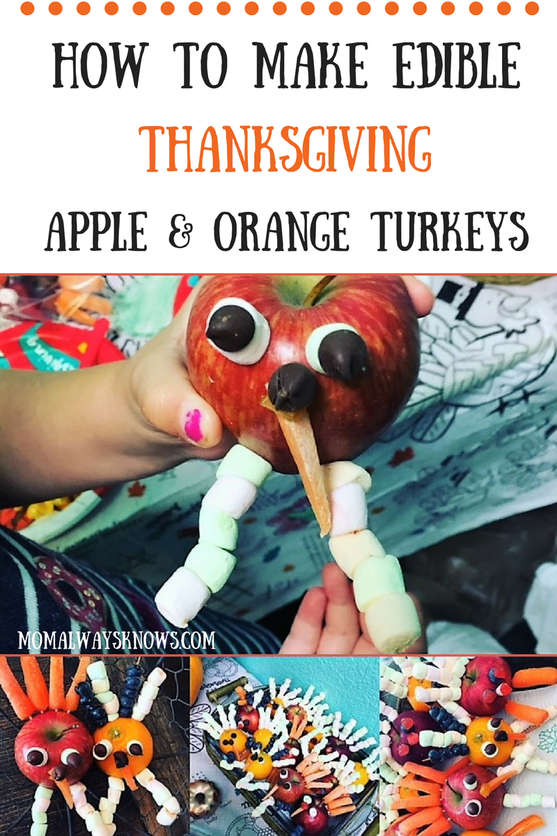 How to Make Edible Thanksgiving Apple and Orange Turkey Snacks
