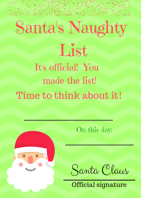 naughty list printable