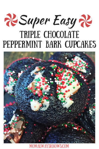 Super Easy Triple Chocolate Peppermint Bark Cupcake Recipe