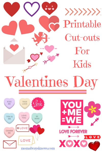 30 Valentines Day Printable Cut-outs for Kids
