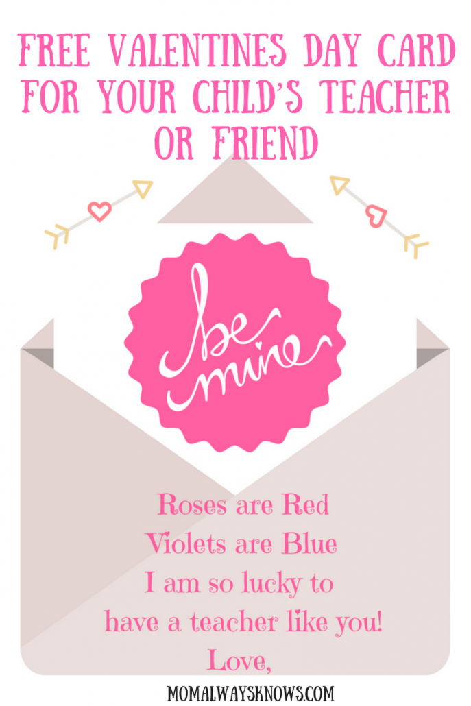 image relating to Printable Teacher Valentine Cards Free known as Consider a Free of charge Printable Valentines Working day Card for Your Childs