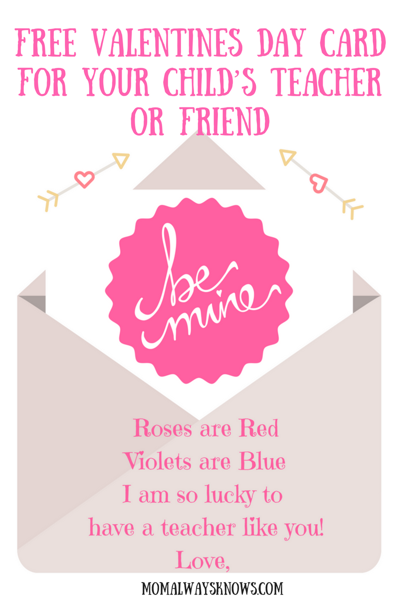 get a free printable valentines day card for your child u0026 39 s teacher or friend kid crafts
