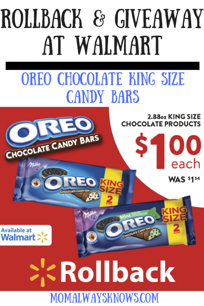 OREO Chocolate King Size Candy Bars Rollback and Giveaway at Walmart