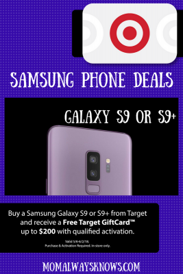 Buy a Samsung Galaxy S9 or S9+ from Target and receive a Free Target GiftCard™