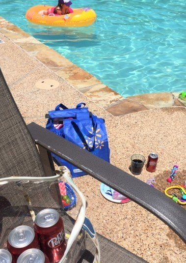 walmart bag at pool