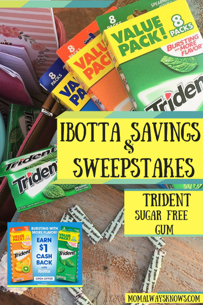 Ibotta and Trident Sugar Free Gum Savings and Sweepstakes