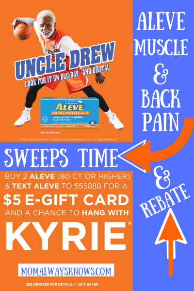 Aleve Muscle and Back Pain Rebate and Kyrie Irving Sweeps