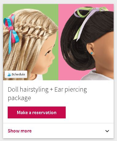 how to make reservation at american girl doll store