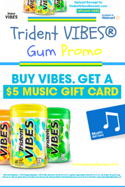 Trident VIBES® Gum Free $5 iTunes Gift Card Promo