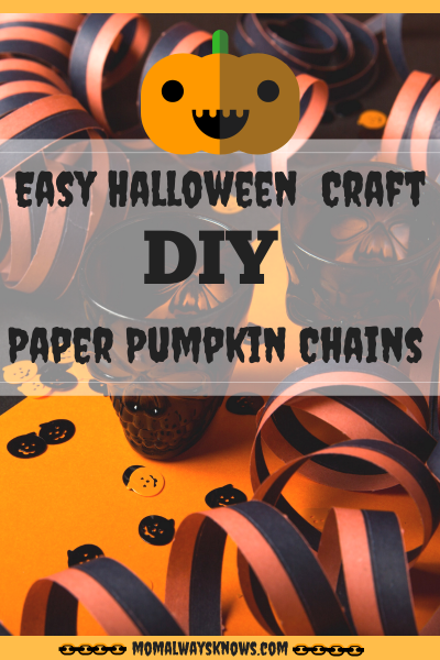 Easy Kids Halloween Decor Craft- DIY Paper Pumpkin Chains