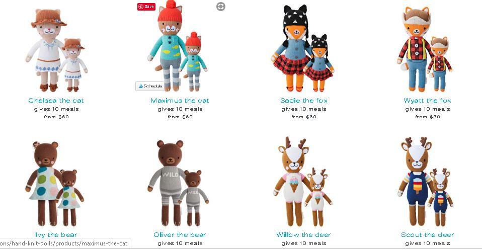 kinds of cuddle+kind dolls