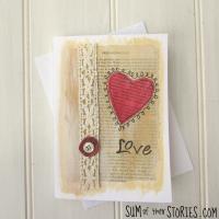 Mixed Media Literary Valentine's Card