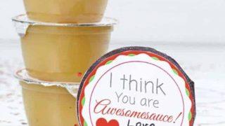 Free Printable Applesauce Valentine | Allergy Friendly Nut Free Valentine